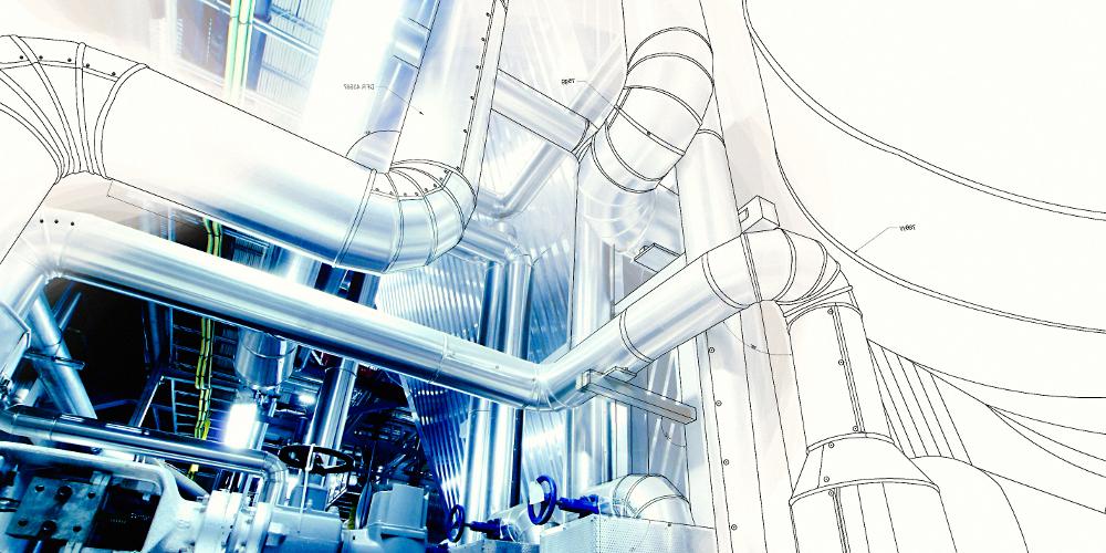 CAD wireframe de las tuberías de una central energética